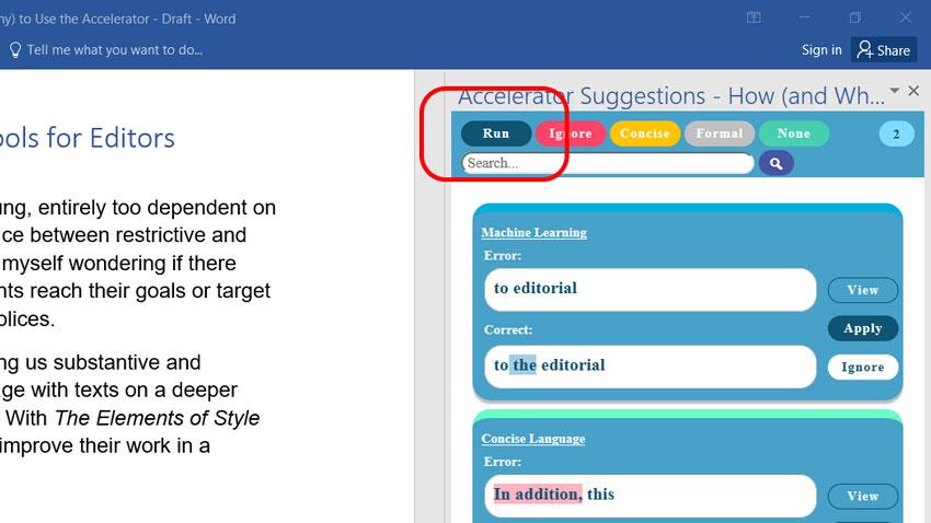 "Run this grammar correction tool with the ""run"" button."
